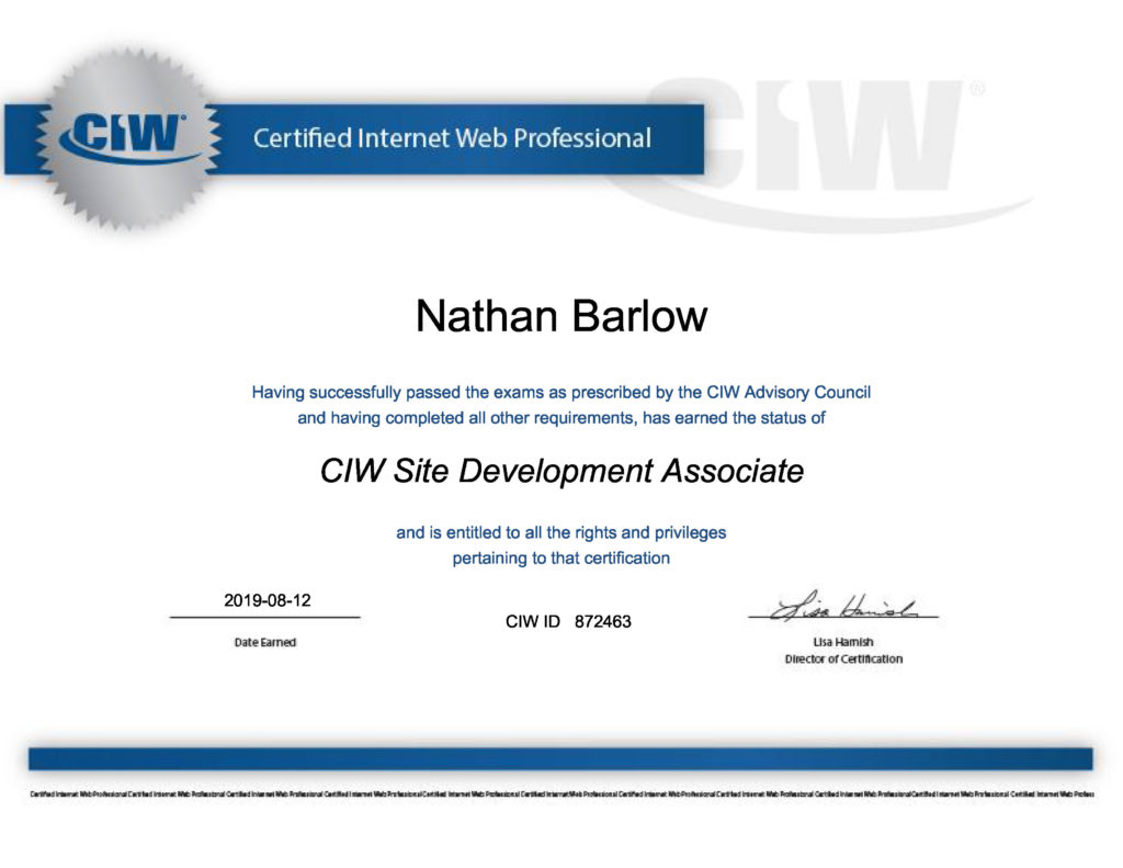 CIW Site Development Associate certificate
